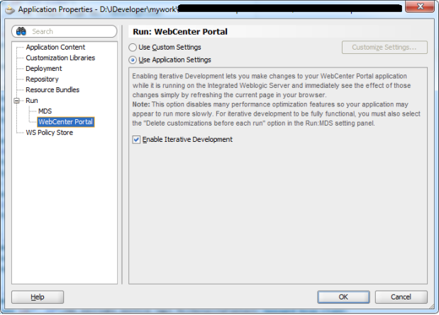 Interative Development Configuration Dialog